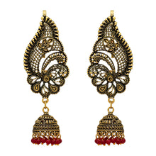 Load image into Gallery viewer, Oxidised Ear Cuff Indian Earrings With Maroon Beads