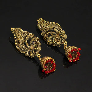 Oxidised Ear Cuff Indian Earrings With Maroon Beads