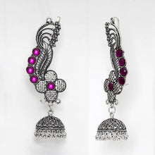 Load image into Gallery viewer, Oxidised Ear Cuff Earrings With Purple Stones