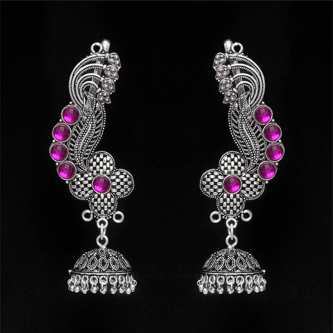 Oxidised Ear Cuff Earrings With Purple Stones