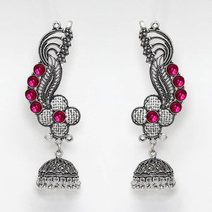 Oxidised Ear Cuff Indian Earrings With Pink Stones