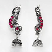 Load image into Gallery viewer, Oxidised Ear Cuff Indian Earrings With Pink Stones