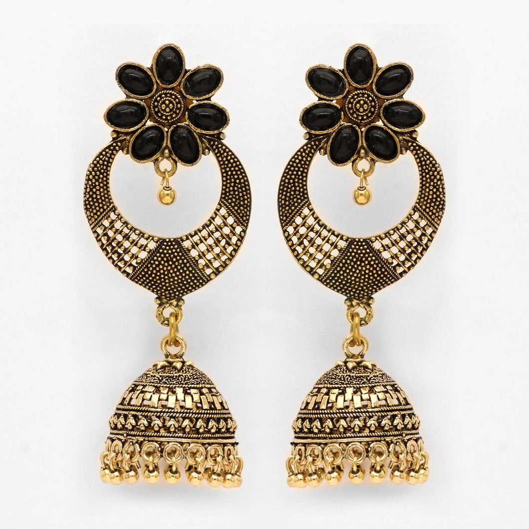 Stylish Black and Gold Jhumka Earrings