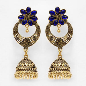 Stylish Blue Stones Gold Jhumka Earrings