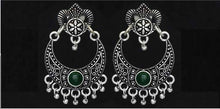 Load image into Gallery viewer, Silver choice of Blue/Purple/Green color Oxidised Earrings