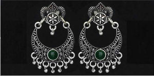 Silver choice of Blue/Purple/Green color Oxidised Earrings