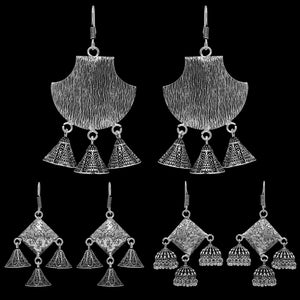Silver Oxidised Jhumki Earrings