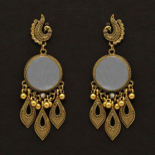 Gold Color Mirror Work Oxidised Earrings (GSE994GLD)