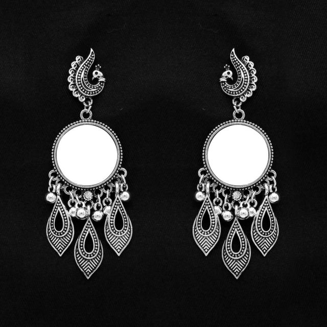 Silver Color Mirror Work Oxidised Earrings (GSE994SLV)