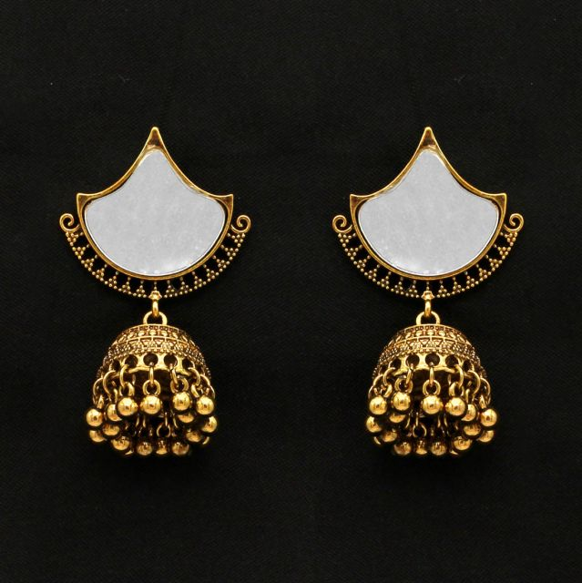 Gold Color Mirror Work Oxidised Earrings (GSE999GLD)