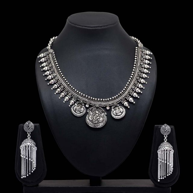 Silver Color Oxidised Temple Necklace With Earrings (GSN1001SLV)