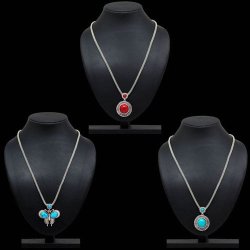 Multi Color Glass Stone 3 Pieces Combo Of Necklace (GSN198CMB)