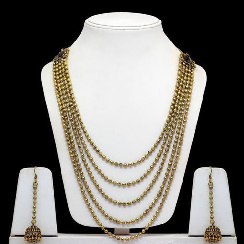 Gold Color Oxidised Necklace With Earrings (GSN987GLD)