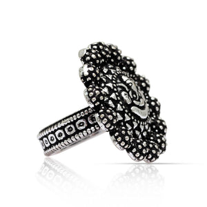 Oxidised Silver Ganesha Design Ring