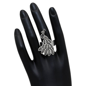 Oxidized Peacock Inspired Ring