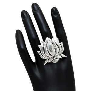 Lotus Design Oxidized Silver Ring