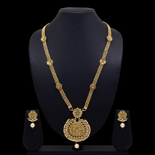 Gold Color Glass Stone Beautiful Necklace With Earrings For Women (KBSN648GLD)