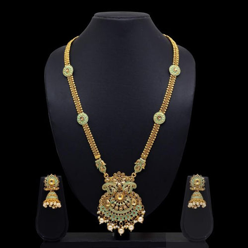 Rama Green Color Glass Stone Mint Meena Necklace With Earrings (KBSN649RGRN)