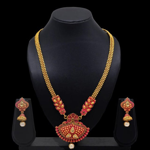 Red Color Glass Stone Mint Meena Necklace With Earrings For Women (KBSN650RED)