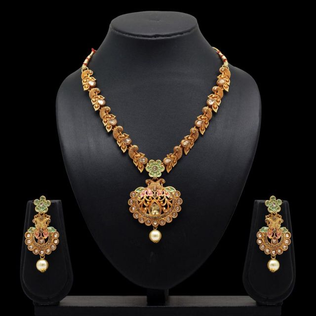 Festive Collection Multi Color Glass Stone Mint Meena Necklace With Earrings (KBSN652MLT)