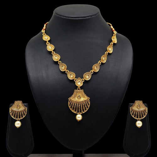 Gold Color Glass Stone Beautiful Necklace With Earrings (KBSN654GLD)