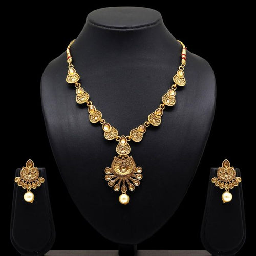 Partywear Collection Gold Color Glass Stone Necklace With Earrings For Women (KBSN655GLD)