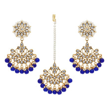 Load image into Gallery viewer, Blue Imitation Pearl Kundan Necklace With Earrings & Maang Tikka