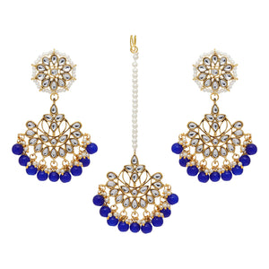 Blue Imitation Pearl Kundan Necklace With Earrings & Maang Tikka
