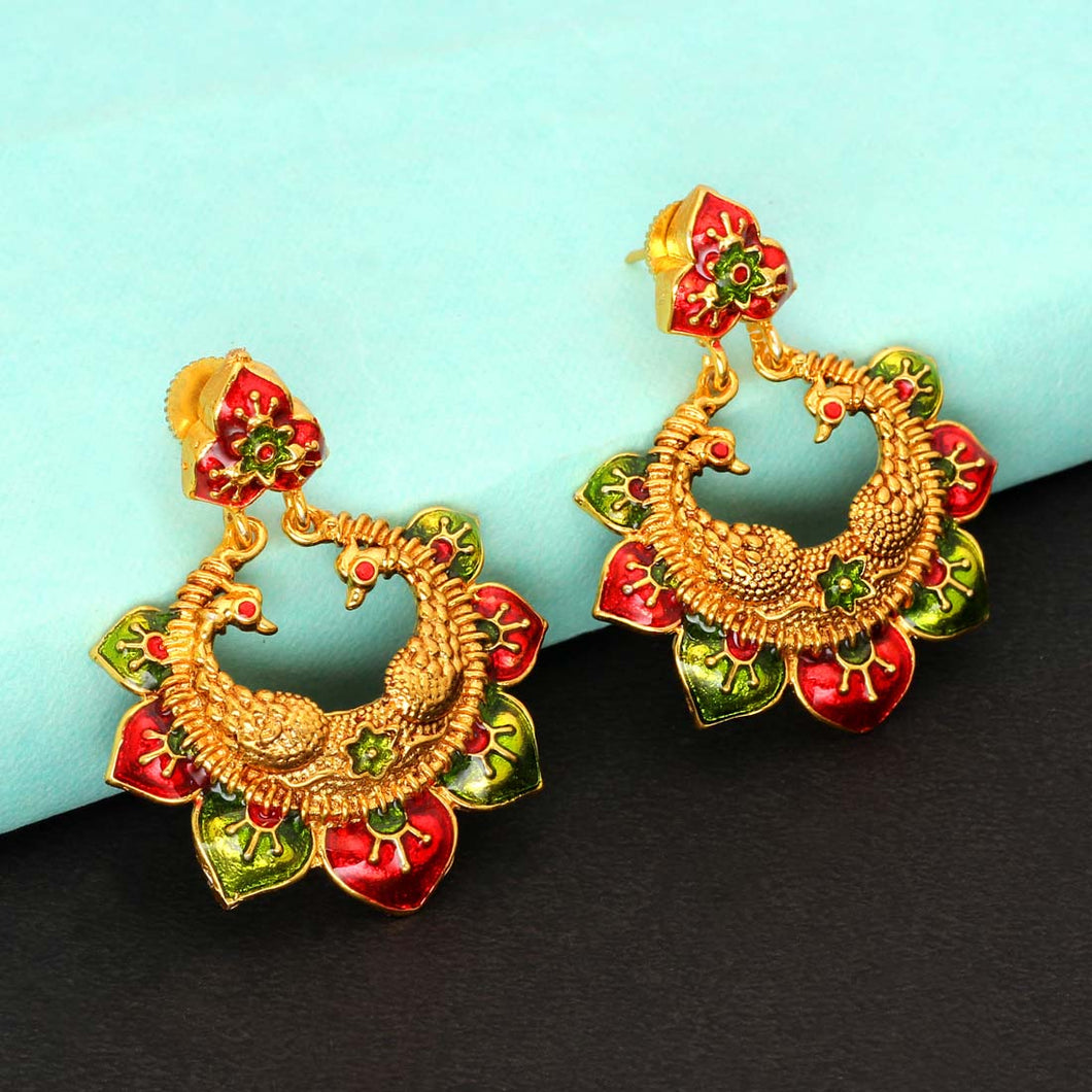Maroon & Green Meenakari Earrings