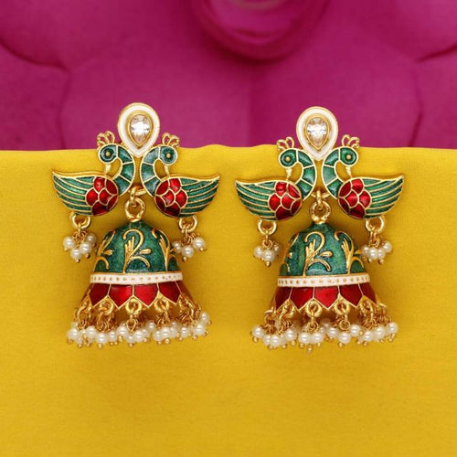 Green Color Kundan Meenakari Work Earrings (MKE708GRN)