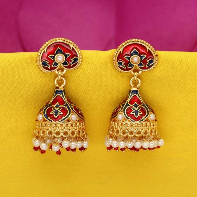 Maroon Color Kundan Meenakari Work Earrings (MKE709MRN)