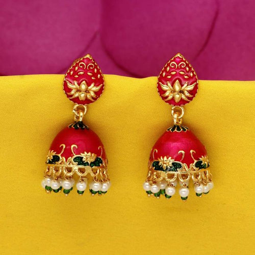 Rani Color Beads Meenakari Earrings (MKE714RNI)