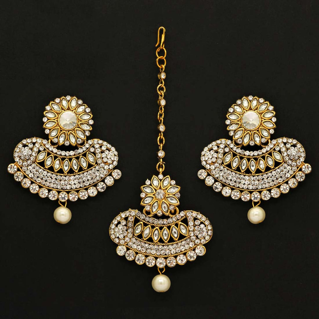 Beautiful Maang Tikka With Earrings -White & Gold Color Rhinestone and Pearl