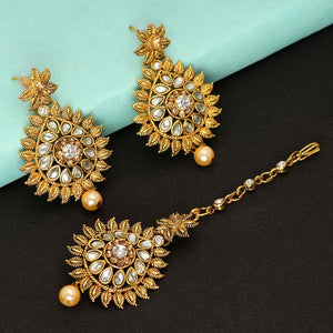 Gorgeous Maang Tikka With Earrings -White & Gold Color Rhinestone & Pearl