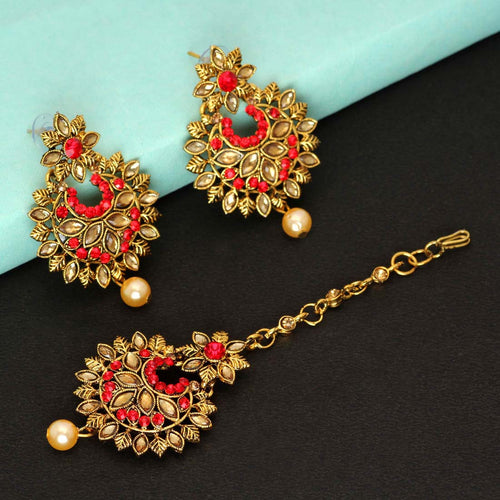 Gorgeous Maang Tikka With Earrings -Red Color Rhinestone & Pearl