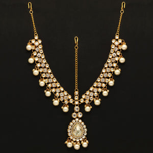 White Imitation Pearl & Kundan Matha Patti