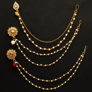 Multi Color Kundan Work 3-Piece Nose Nath