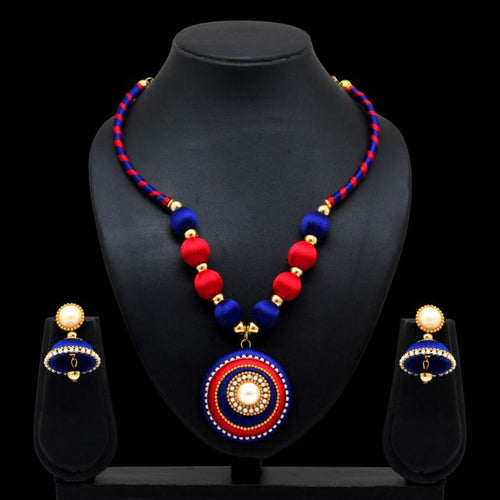 Blue & Maroon Color Thread Work Necklace With Earrings (TRN19BLUMRN)