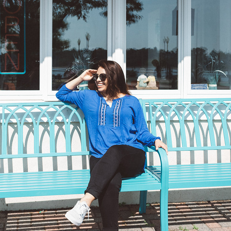 Blue embroidered Blouse Plus size Top Dulce Boutique
