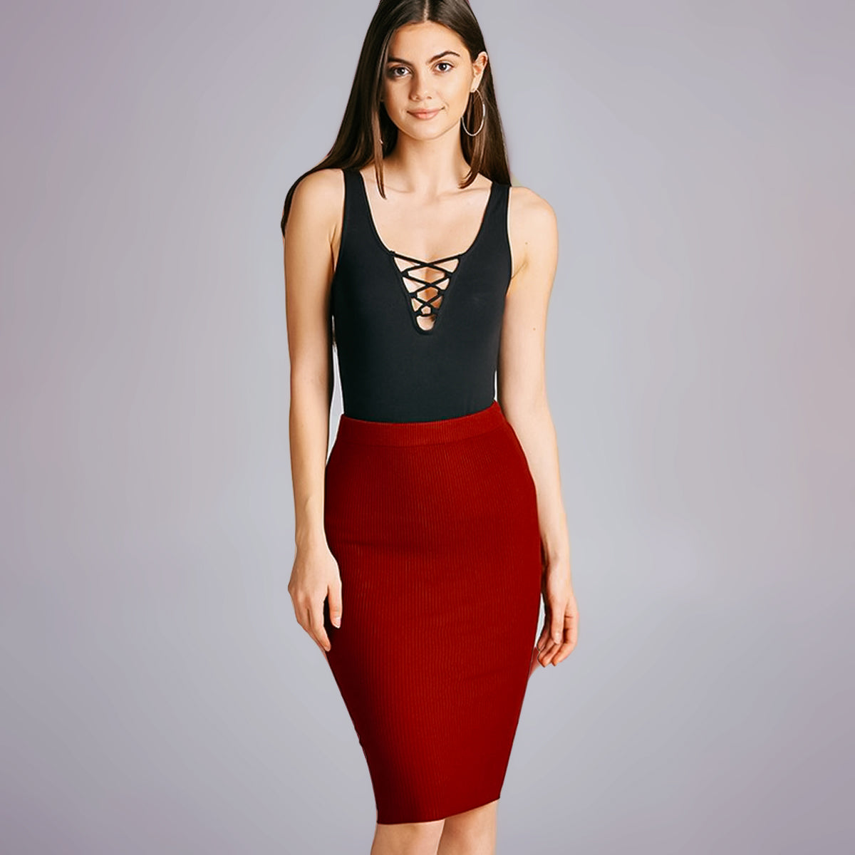 Red Bodycon Skirt Knee length Dulce Boutique