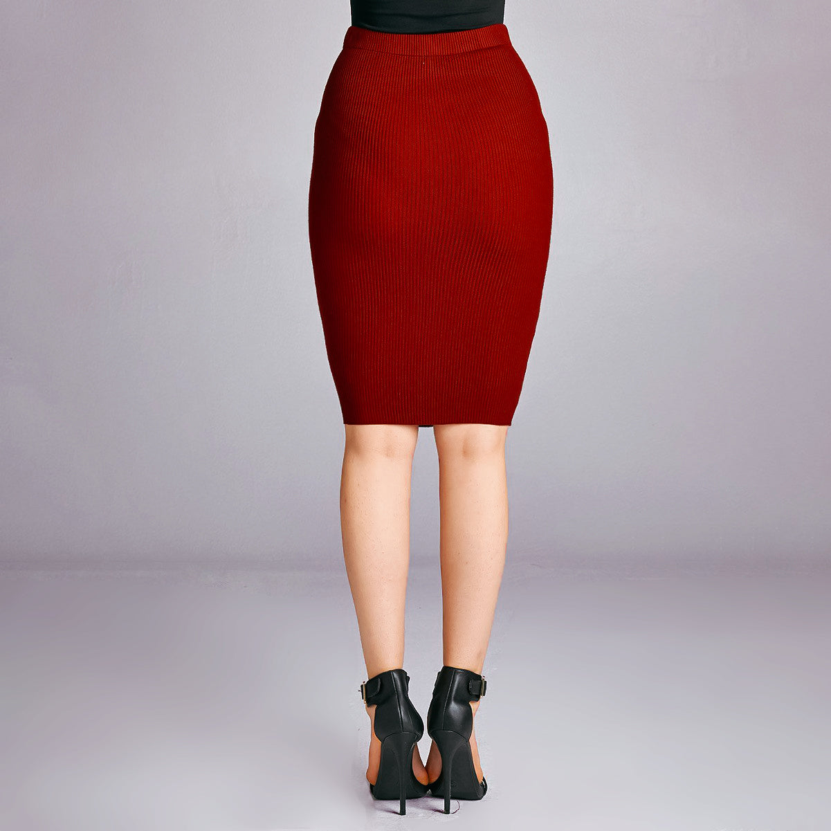 Back view Red Bodycon Skirt Dulce Boutique