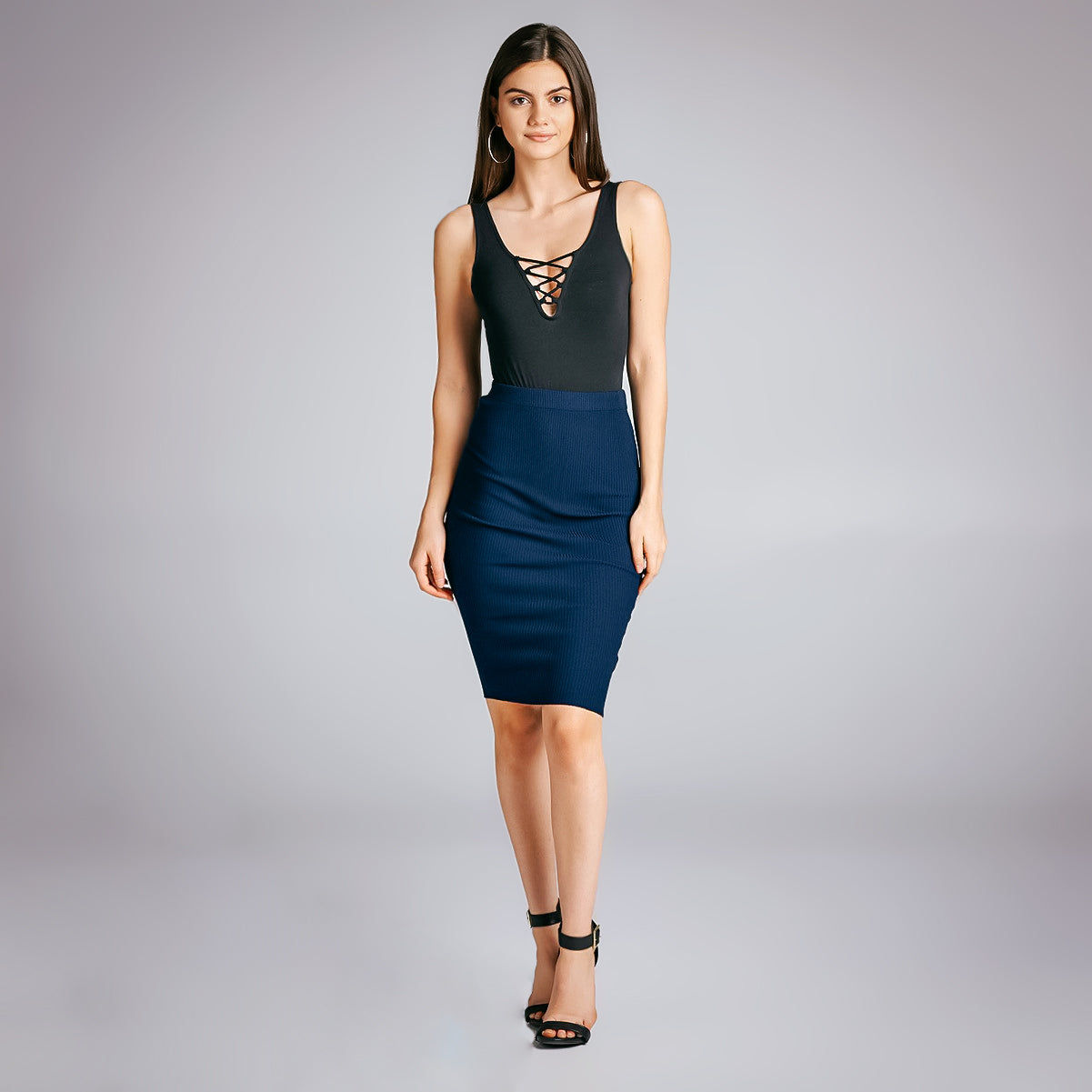 Navy Bodycon Skirt knee length Dulce Boutique