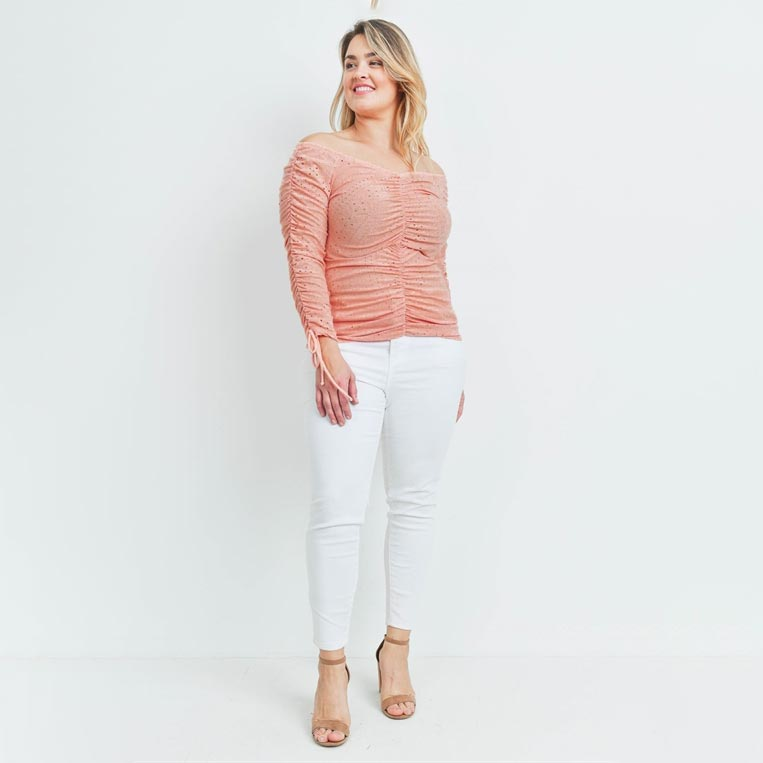 Elle Ruched Eyelet Top+