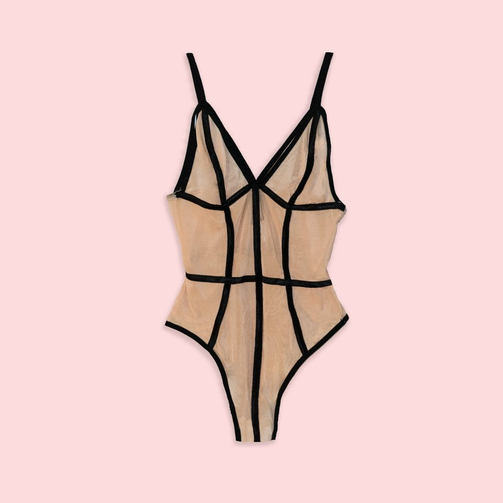 Lingerie - Romantic Sheer Nude Bodysuit