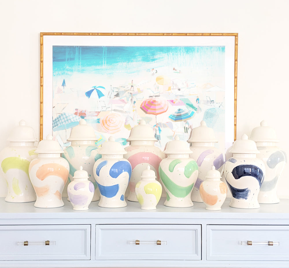 Sea Glass Brushstroke Ginger Jars