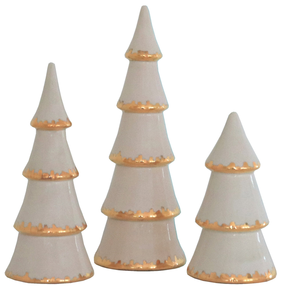 Beige Christmas Trees with 22K Gold Brushstroke Accent