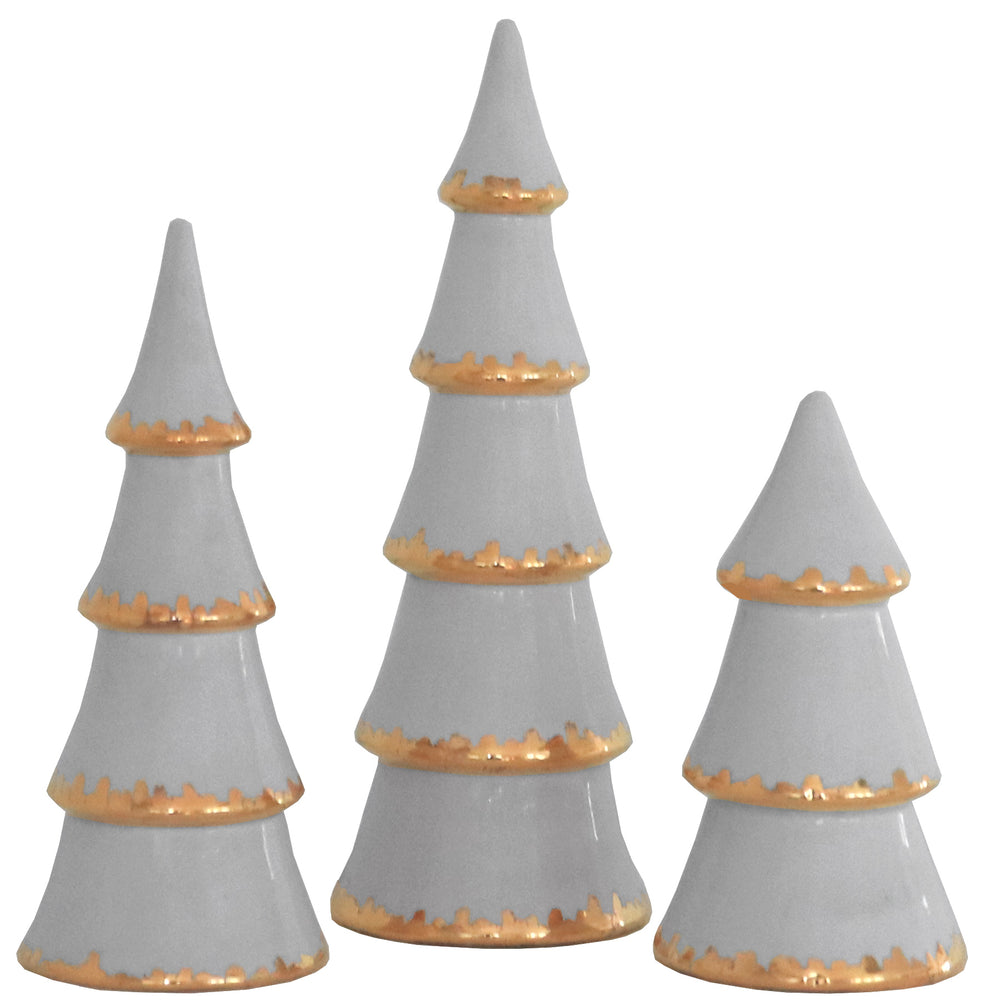 Light Gray Christmas Trees with 22K Gold Brushstroke Accent