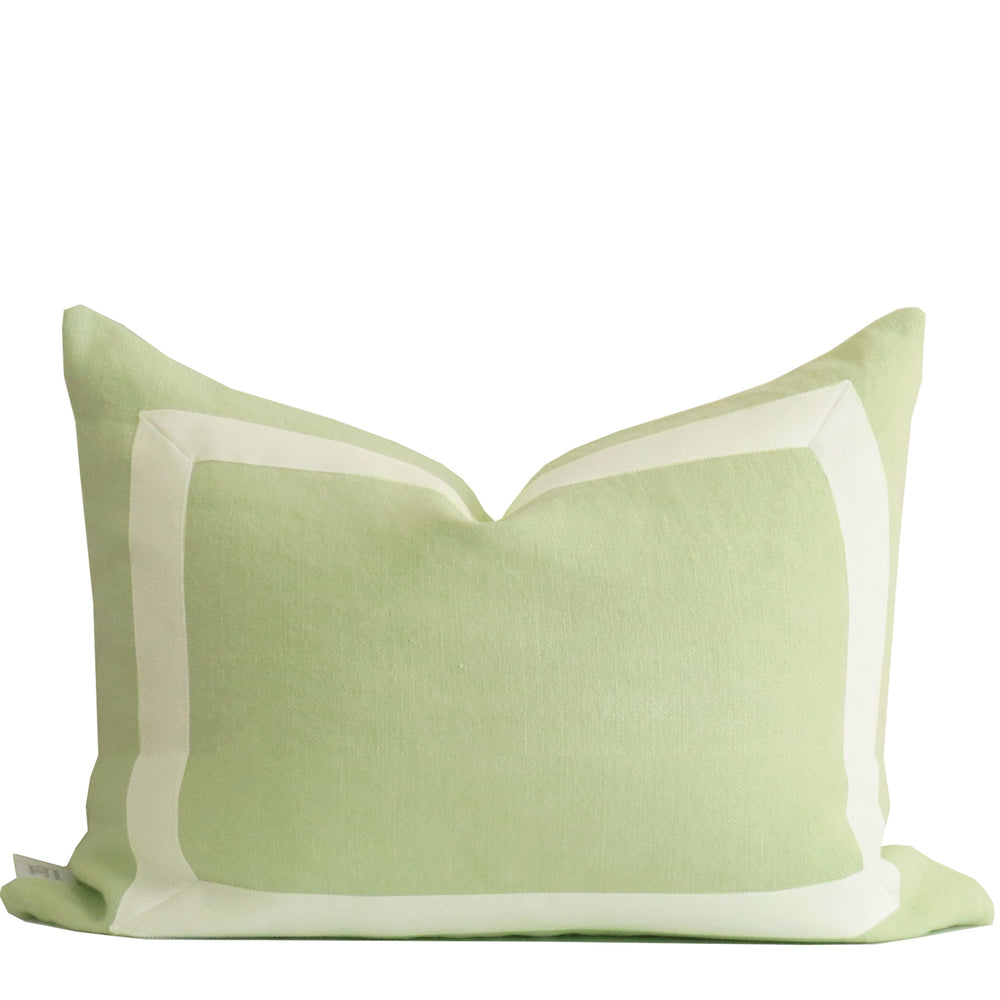 Celadon Green Organic Linen Pillow with White Ribbon Trim