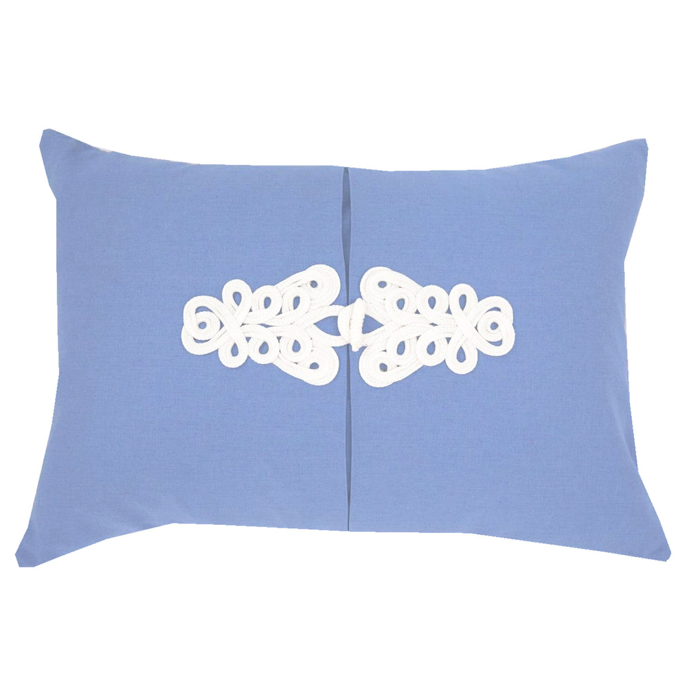 French Blue Knot Pillow