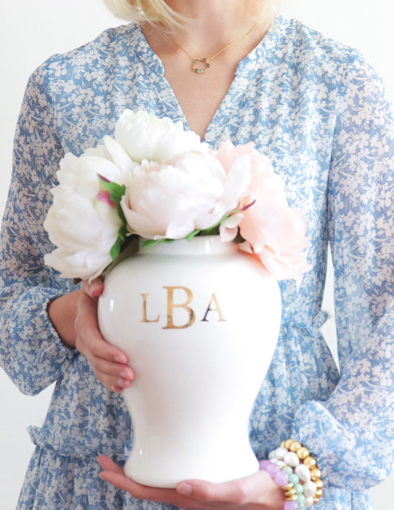 Classic Monogram Ginger Jars in White